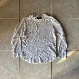 White mens PacSun scalloped fit long sleeves
